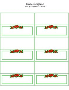 FREE Printable Christmas Place Cards - Holiday Party Favors at Kid Scraps