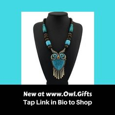 Check out this stunning turquoise owl necklace! It's one of our favorite pieces of owl jewelry. TAP LINK IN BIO TO SHOP NOW at www.owl.gifts We have lots of fabulous gifts for owl lovers! . #owl #owls #owllove .