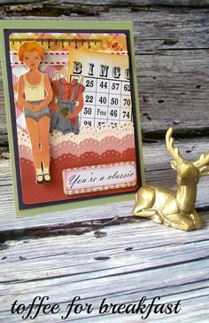 """a vintage paper doll card I made - """"You're a classic"""""""