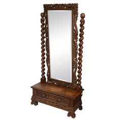 English Cheval Mirror with Single Drawer, Hand-Carved, 19th Century | From a unique collection of antique and modern floor mirrors and full-length mirrors at http://www.1stdibs.com/furniture/mirrors/floor-mirrors-full-length-mirrors/