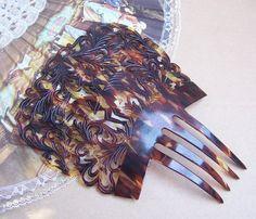 Vintage hair comb large faux tortoiseshell by ElrondsEmporium