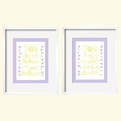 You Are My Sunshine Print Duo Set - for Courtney bedding in yellow, lavender and grey 11 in x 14 in by YassisPlace. $46.95, via Etsy.