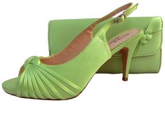 Lime Green Evening Shoes and matching clutch bag