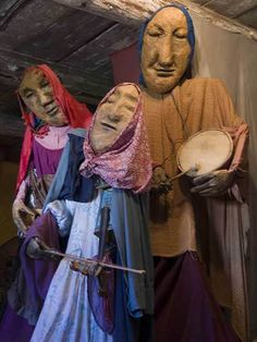 Giant puppets from Bread and Puppet Theater displayed in the Puppet Museum in Glover, Vermont