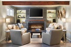 Built Ins Around Floating Fireplace Design Ideas, Pictures, Remodel, and Decor - page 21