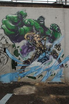 Hulk Vs Thor London Graffiti by mattskating, via Flickr