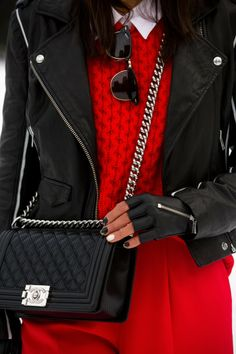 VIVALUXURY | biker chic | style | red knit sweater | sunglasses | moto jacket | biker gloves | red pants