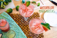 Watermelon Margaritas 2 shots of silver tequila shot of freshly-squeezed lime juice shot of triple sec 1 shots watermelon puree Ice Coarse sea salt, for rim Wedge of watermelon and lime, for garnish Margarita On The Rocks, Margarita Mix, Watermelon Margarita, Margarita Recipes, Healthy Eating Recipes, Veggie Recipes, Healthy Drinks, Healthy Cooking, Real Food Recipes