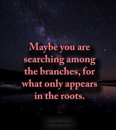 Maybe you are searching among the branches, for what only appears in the roots. Roots Quotes, Dark Soul Quotes, Quotes White, Quotes About Roots, True Love Quotes, Best Love Quotes, Motivational Quotes, Inspirational Quotes, Quotes About Everything