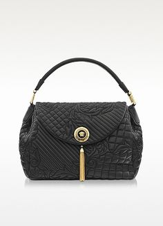 Versace Spring/Summer 2013 Talia Vanitas Black Embossed Leather Shoulder Bag
