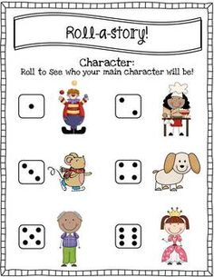 Use this for piano. Have them roll for certain values / notes / rhythms, etc. Students roll a character and a setting and write a narrative. Great for a writing center! Kindergarten Literacy, Literacy Activities, Teaching Writing, Teaching Ideas, First Grade Writing, Classroom Fun, Writing Workshop, School Fun, Writing Ideas