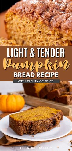 This pumpkin bread is perfect with a cup of coffee in the AM, or a scoop of ice cream later. The amount of spice in this bread is giving me so many fall vibes to match the crisp air and fall leaves. This bread is also so moist and has a delicious soft tender crumb inside, thanks to the wonderful addition of cream cheese. Pumpkin Recipes Keto, Best Pumpkin Bread Recipe, Pumpkin Spice Bread, Quick Bread Recipes, Easy Baking Recipes, Breakfast Recipes, Dessert Recipes, Dessert Bread, Sweet Bread