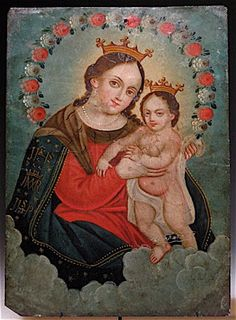 A humble art form, the Mexican retablo is small in size and painted on tin. Pintura Colonial, Colonial Art, Religious Images, Religious Art, Domino Art, Dark Portrait, Tin Art, Saints, Madonna And Child