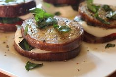 Great way to use summer produce...Grilled Eggplant Napoleon!