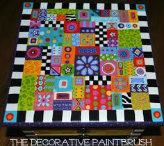 Fun table top to go with the fun chair - thedecorativepaintbrush.blogspot.com