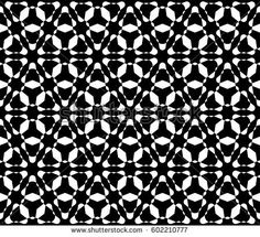 Black and white texture. Simple vector seamless pattern. Monochrome geometric background with smooth overlap triangular shapes. Floral motif, oriental style. Modern backdrop, stylish design element