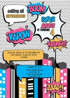 Superhero GIRL Invitation  PRINTABLE by LuLuPaperPrints on Etsy, $8.00
