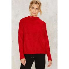 Playing With Fire Ribbed Sweater (£72) ❤ liked on Polyvore featuring tops, sweaters, red, oversized sweaters, red top, thick sweaters, red sweater and ribbed sweater