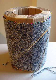A woven hat on a cardboard loom. Love this! Ruth's weaving projects: Bias woven hat