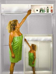 storage above the shower door...