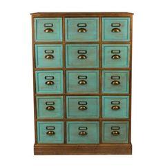 Apothekerskast - 15 laden - naturel/blauw