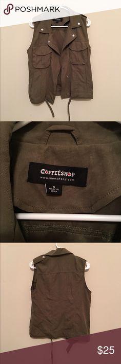 Coffee Shop Cargo Vest Army green cargo vest. Great condition CoffeeShop Jackets & Coats