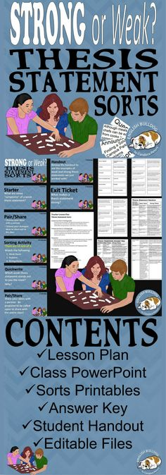 Strong or Weak? Thesis Statement Sorts: Make differentiating strong and weak thesis statements easy for your kinesthetic learners! 6th Grade Writing, 6th Grade Ela, Middle School Writing, Middle School English, Eighth Grade, Writing Lessons, Teaching Writing, Teaching English, Essay Writing