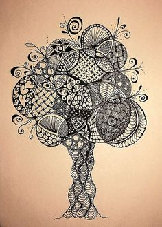 Previous pinner says: My own version of a zentangle tree