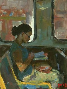 DARREN THOMPSON FINE ART: Reader #64.  Reader #64 is part of an ongoing series. The figure in this painting is doing her reading on a train ride in Chicago.  The horizontal shapes are contradicted by the vertical white shape that outlines the face.