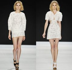 Jill Stuart 2014 Spring Summer Womens Runway Collection - New York Fashion Week - Denim Dresses Caftan Lace Embroidery Embellished Florals S...