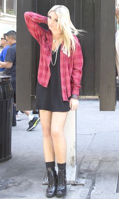 I love how anything delly wears Looks amazing !! Flannel over LBD