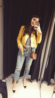 Zara denim , Zara shoes black point toe , Stradivarius yellow jacket  #zara #yellow