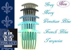 www.pinklilyretail.com Lovely large Pleat Comb, available in 17 colors. Made in France!