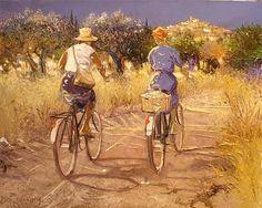 Painting by French Artist Andre Deymonaz Bicycle Illustration, Illustration Art, Illustrations, Bicycle Painting, Art Gallery, Bicycle Print, Cycling Art, Bike Art, French Artists