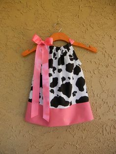 Pink Cow Print Pillowcase Dress - sizes to CUTE for Birthday parties Cow Birthday Parties, Farm Birthday, Cowgirl Birthday, Birthday Ideas, Cow Appreciation Day, Barnyard Party, Farm Party, Pink Cow, Cowgirl Party