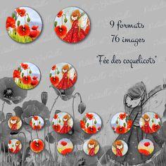 """76 images digitales pour cabochon """" fée des coquelicots"""" : Images digitales pour bijoux par patouille-et-gribouille"""