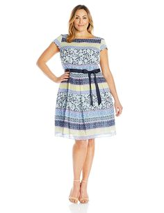 ec86d164bd9 S.L. Fashions Women s Plus Size Patch Work Printed Belted Sundress     Insider s special review you