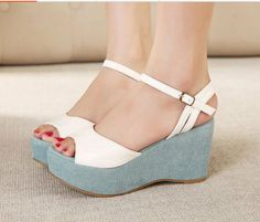Summer Rural Fashion Popular Color Block One-buckle Peep-toe Wedge Platform Sandals
