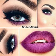 Brown Smokey Eye Makeup - Winged Eyeliner - Purple Lower Lash Line - Matte Purple Ombre Lips
