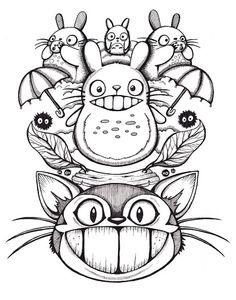 Totoro 11x14 Giclee Print Original ink drawing by Jessferatu, $15.00