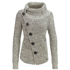 Chic Turtleneck Long Sleeve Button Design Knitted Women's Jacket ($23) ❤ liked on Polyvore featuring outerwear, jackets, white turtleneck, white jacket, long sleeve jacket, button jacket and turtleneck jacket