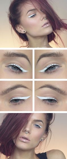 Today's look – White eyeliner. I really like white eyeliner- I think it is quite lovely. This was done using Limecrime Lunar Sea liquid eyeliner. White Makeup, Love Makeup, Makeup Inspo, Makeup Art, Makeup Inspiration, Makeup Tips, Beauty Makeup, Makeup Looks, Hair Makeup