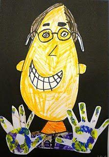 1st grade Painted Hand Portraits