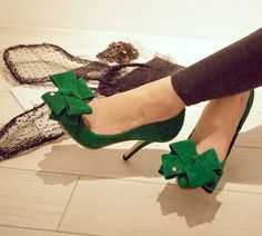 Emerald green with bow