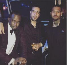 Diddy, French and Breezy at Chris Brown's party in L.A.