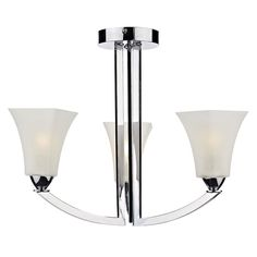 The Arlington Triple Light Semi Flush Ceiling Light is a sophisticated fitting that features White Hand Blown Scavo Glass shades and polished chrome frame. Dar ARL0350