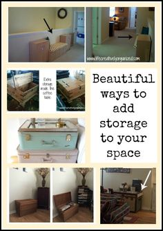 Out of storage space but don't want boring plastic bins? Here are some beautiful ways to add more storage in your home using re-purposed items. Game Storage, Built In Storage, Storage Bins, Storage Spaces, Storage Ideas, Hallway Storage, Living Room Storage, Old Cabinets, Antique Cabinets
