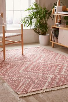 Magical Thinking Tonal Diamond Printed Rug in Rose - 8x10 $229 at Urban Outfitters
