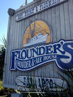 Flounder's restaurant wood #sign on the boardwalk in Pensacola #Florida