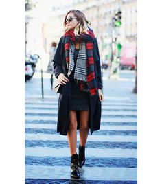 @Alexandra M What Wear - Anne-Laure Mais of Adenorah  Trench Coat + Double Scarf + Leather Dress